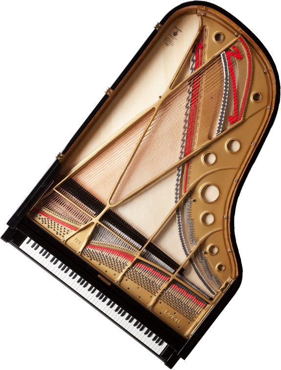 A view of the top and inside of a Fazioli grand piano for sale at Portland Piano Company