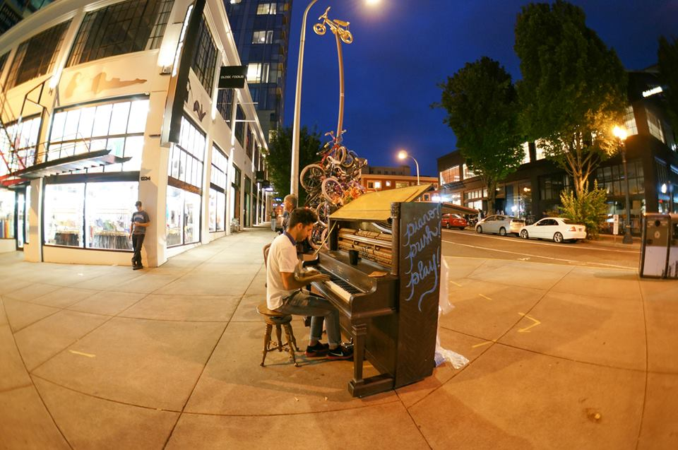 Public Piano Playing Phenomena of Piano. Push. Play.